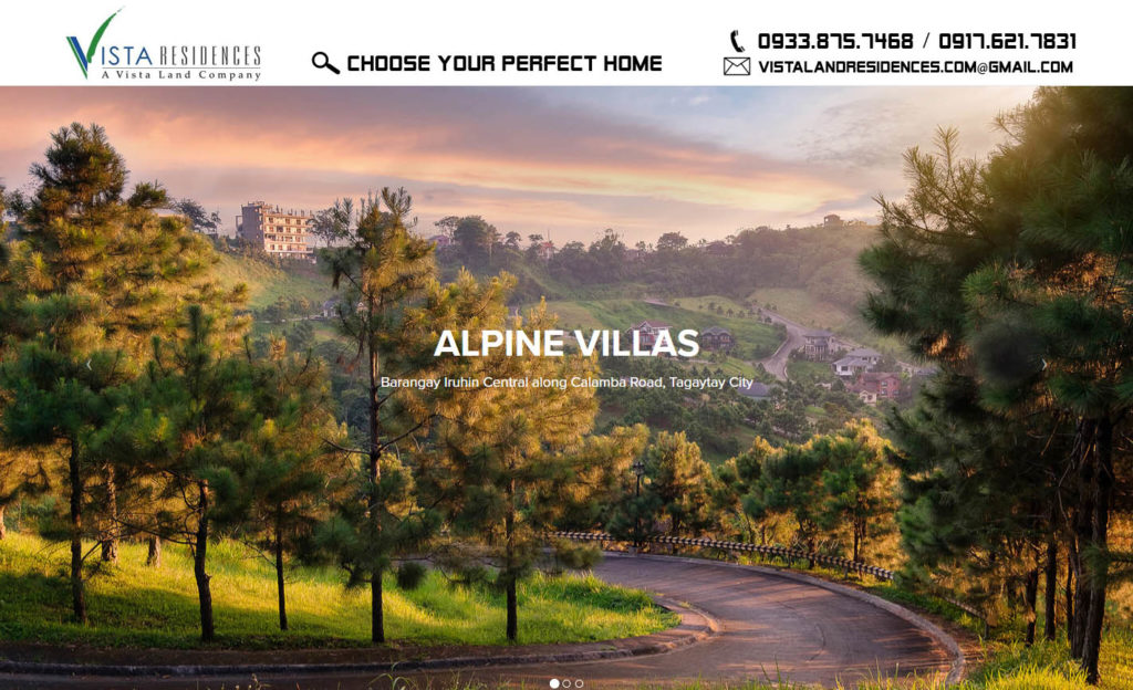 Vista Land Residences Vista Alpine Villas Tagaytay banner