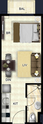 Costa Vista Boracay floorplan - Studio Deluxe