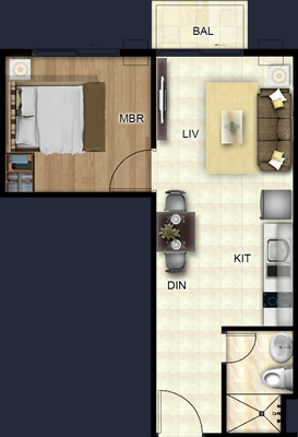 Costa Vista Boracay floorplan - 1 BEDROOM SUITE