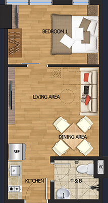 Vista Brenthill Baguio floorplan - 1 bedroom
