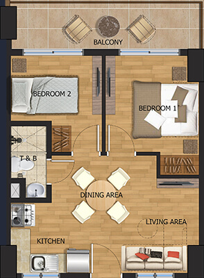 Vista Brenthill Baguio floorplan - 2 bedroom