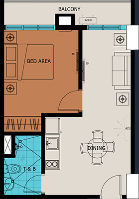 Vista Suarez Cebu floorplan - 1 Bedroom with Balcony